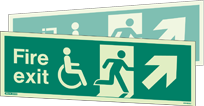 4045DSU - Jalite Fire Exit Mobility Impaired Double Sided Sign