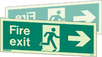 430DST - Jalite Fire Exit Double Sided Sign