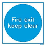 WX5257E - Jalite Fire Exit Keep Clear White Rigid PVC Sign